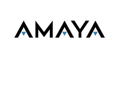Amaya Inc. company logo - Black text on white background, blue triangles.