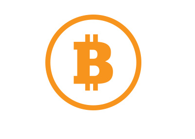 The Bitcoin symbol in orange colour.