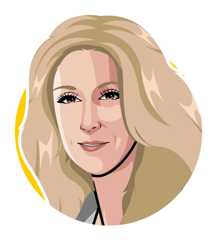 Illustration of singer Celine Dion.  Art.  Drawing.  Profile.