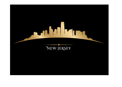 The golden skyline of New Jersey City on black background. Illustration.