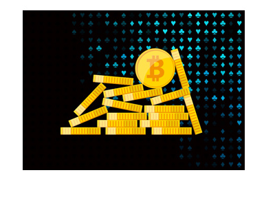 Cryptocurrency online casino - Bitcoin coins over spade, heart, diamond and club background.