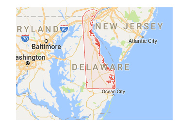 The state of Delaware on the map of United States.