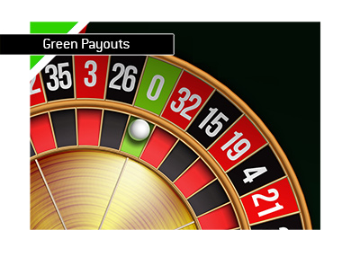 What are the green payouts in the game of roulette?