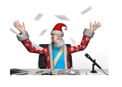 The King is in a festive mood, celebrating the season.  Wearing a santa claus hat and throwing papers in the air.