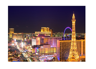 Las Vegas at night.  Birdseye view of the strip.  The lights are on.