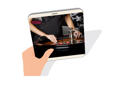 Live roulette on a tablet.  Attractive female is spinning the wheel.