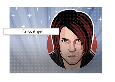 The famous magician Criss Angel with a backgdrop of lights and sparkles.