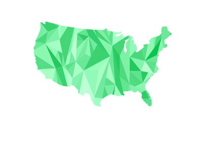 Map of United States of America - Green, computerized and angular.