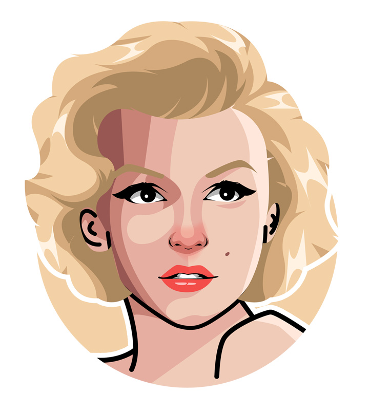 The true american icon.  Marilyn Monroe drawing.  Blonde bombshell.  Illustration.  Art.