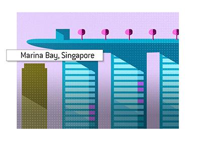 Casino illustration - Luxurious Marina Bay, Singapore.