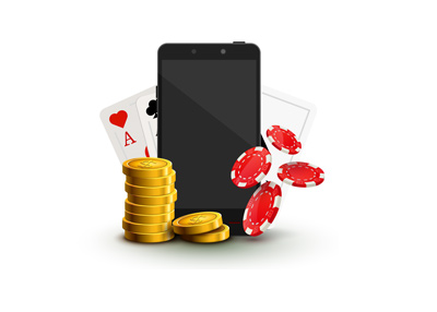 Online / mobile gaming.  Illustration.  Cellphones, chips and cards.