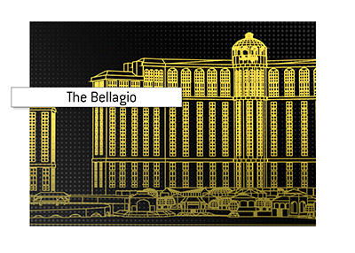 The iconic casino on the Las Vegas strip - The Bellagio.  Line art.  Illustration.
