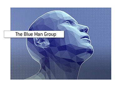Poly style image of the popular Blue Man Group.
