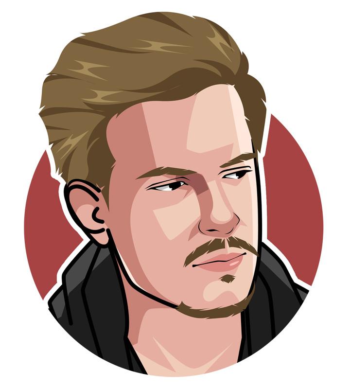 Viktor Blom poker player profile illustratioin.  Art.  Digital avatar.  Drawing.